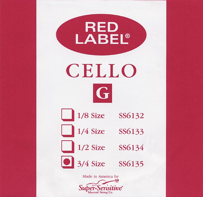 Super Sensitive Red Label Cello G String  3/4