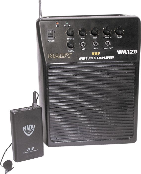 Nady WA 120 Portable PA System with Wireless Omni-Lavalier Mic Channel E
