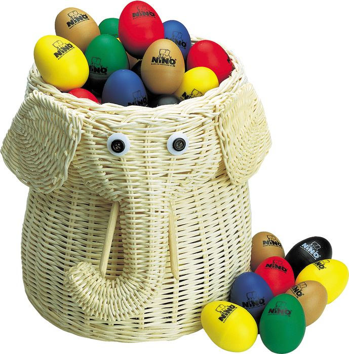 Nino 80-Piece Egg Shaker Assortment with Elephant Basket