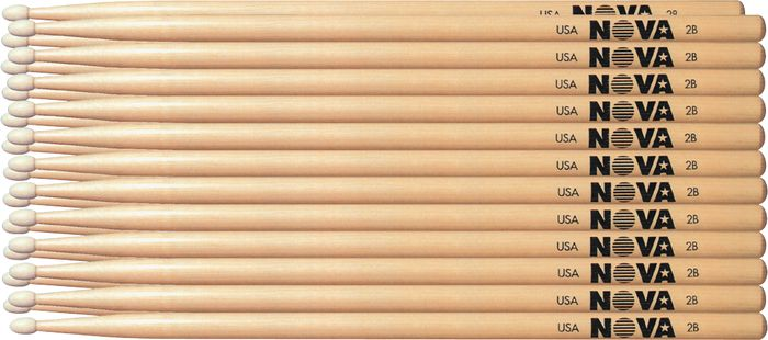 Nova 12-Pair Hickory Drumsticks Nylon 2B
