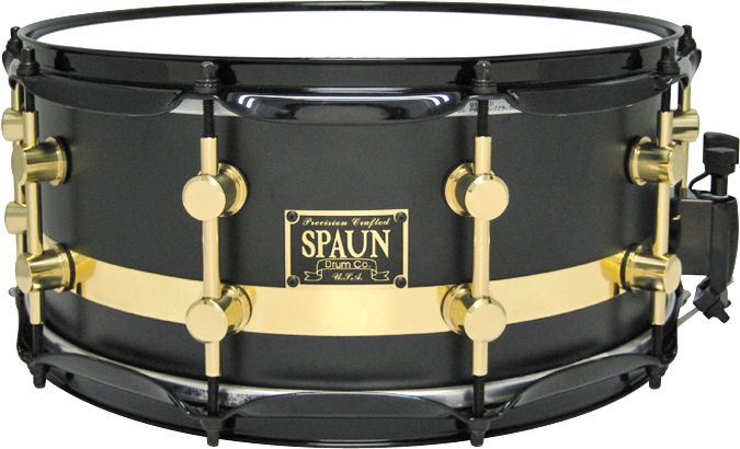 Spaun Maple Snare Flat Black W/Gold Stripe 14X5.5