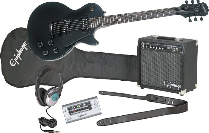 Epiphone Goth Les Paul Studio Electric Guitar And All Access Amp Pack