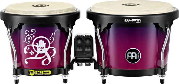 Meinl Free Ride Designer Series Wood Bongo Set  Love, Peace and Unity 6 3/4 Inch And 8 Inch