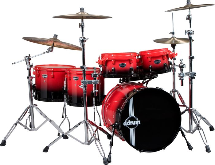 Ddrum Duo Fade Maple 6-Piece Shell Pack Red/Black Fade