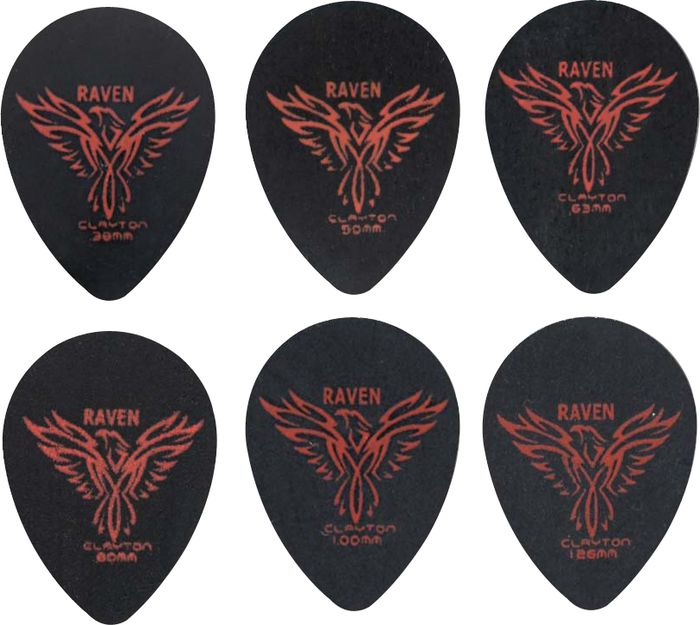 Clayton Black Raven Small Teardrop Guitar Picks .80MM 1 Dozen