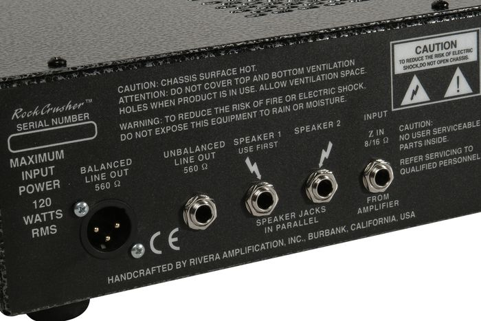 Rivera RockCrusher Rear Inputs & Outputs