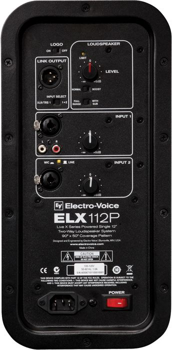 EV ELX112P Active Speaker Rear Inputs & Outputs