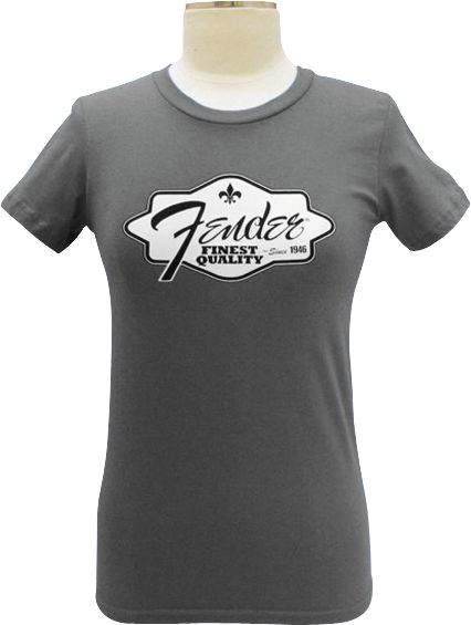Fender Ladies Finest Quality Tee Shirt Charcoal Small