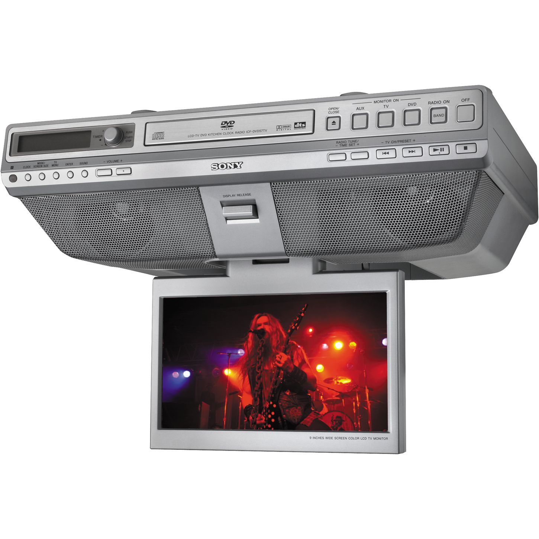 Sony icf dvd57tv under cabinet lcd tv dvd cd clock radio musician s