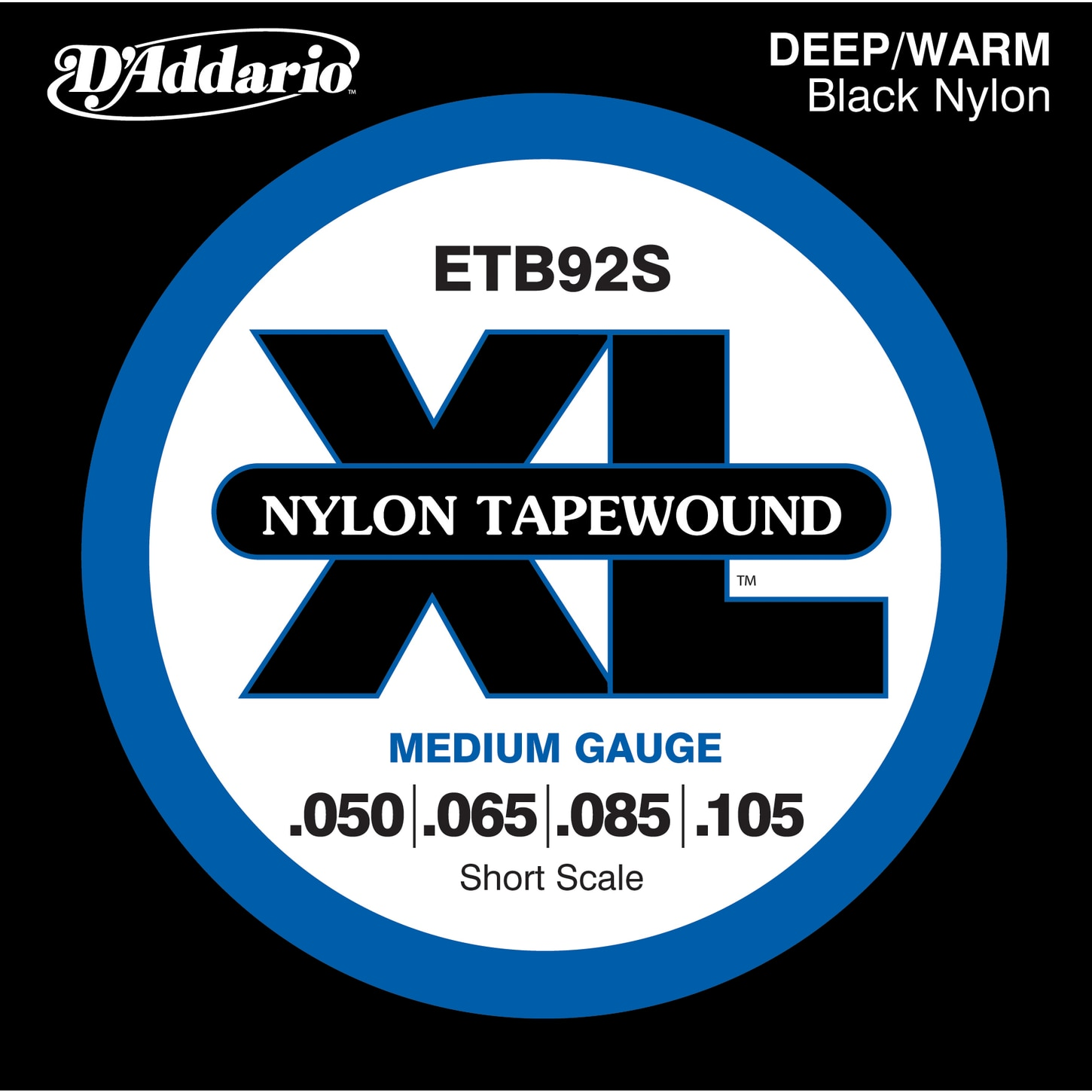 Addario ETB92 Black Nylon Tapewound Short Scale Bass Strings ...