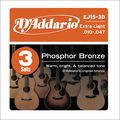D'AddarioEJ15 Phosphor Bronze Extra Light Acoustic Strings 3-Pack