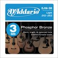 D'AddarioEJ16 Phosphor Bronze Light Acoustic Guitar Strings 3-Pack