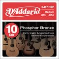 D'AddarioEJ17 Phosphor Bronze Medium Acoustic Strings 10-Pack