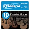D'AddarioEJ16 Phosphor Bronze Light Acoustic Guitar Strings 10-Pack