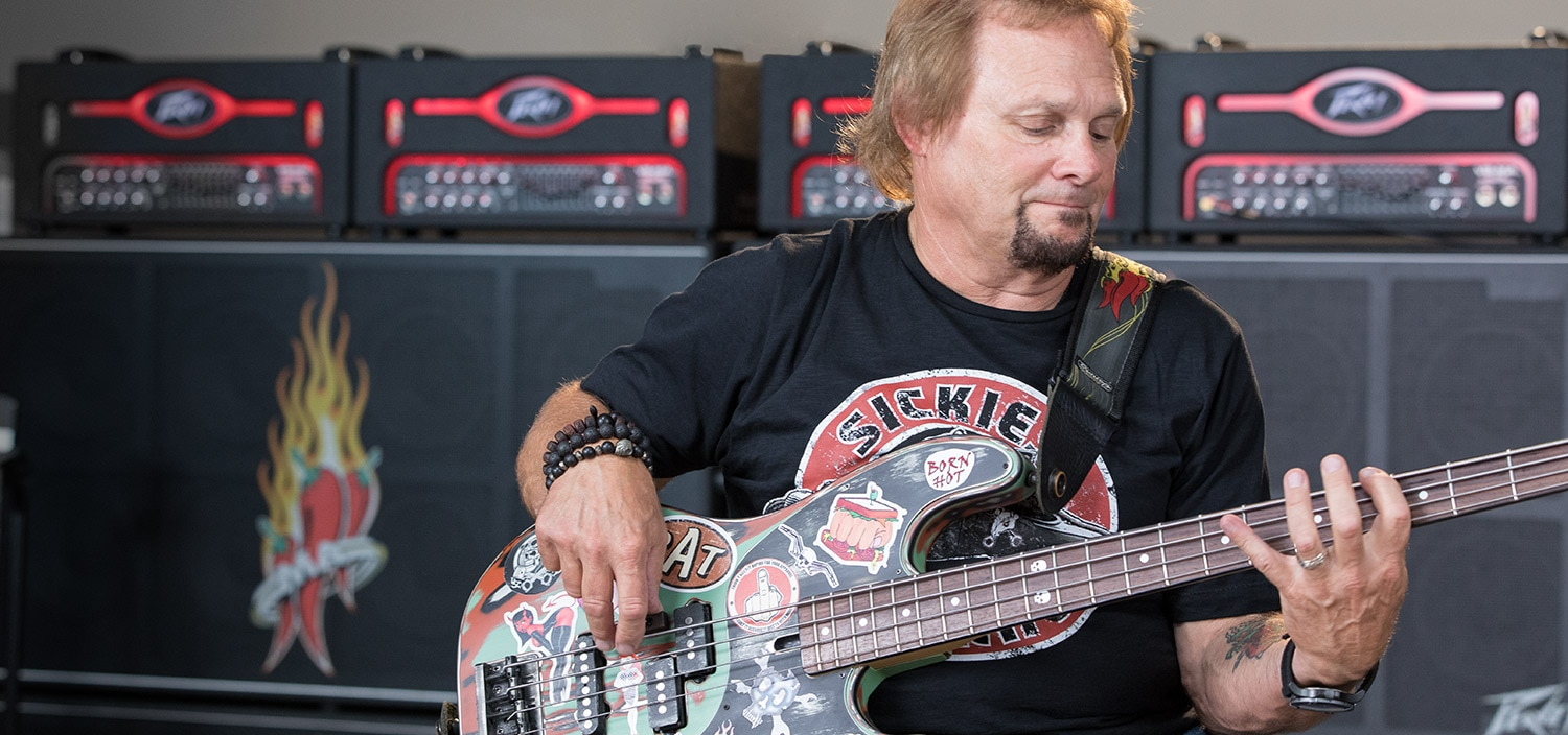 Michael Anthony playing bass guitar