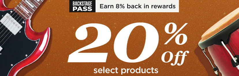 Backstage pass. Earn 8 percent back in rewards. 20 percent off select products.