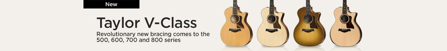 Taylor V-class, revolutionary new bracing comes to the 500, 600, 700 and 800 series.