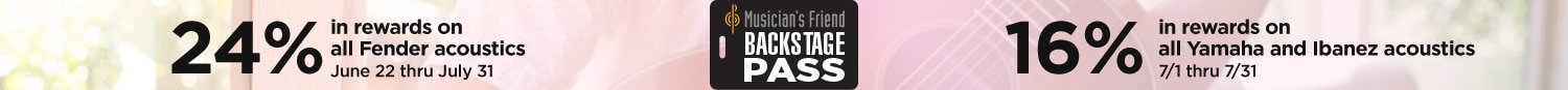 Musician's Friend Backstage Pass. 24 percent in rewards on all Fender acoustics June 22 through July 31. 16 percent in rewards on all Yamaha and Ibanez acoustics July 1 through July 31.