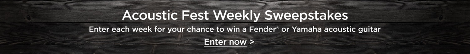 Acoustic Fest Weekly Sweepstakes. Enter each week for your chance to win a Fender or Yamaha acoustic guitar. Enter now