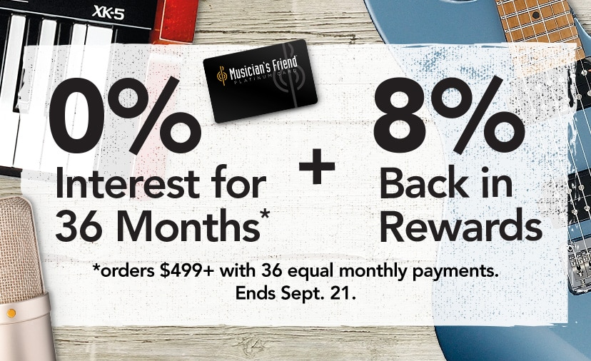 0 percent interest for 36 months plus 8% back in rewards - Orders 499 dollars with 36 equal monthly payments. Ends Sept 21