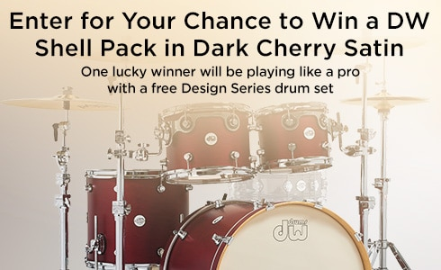 Enter for your chance to win a DW Shell Pack in Dark Cherry Satin. One lucky winner will be playing like a pro with a free design series drum set