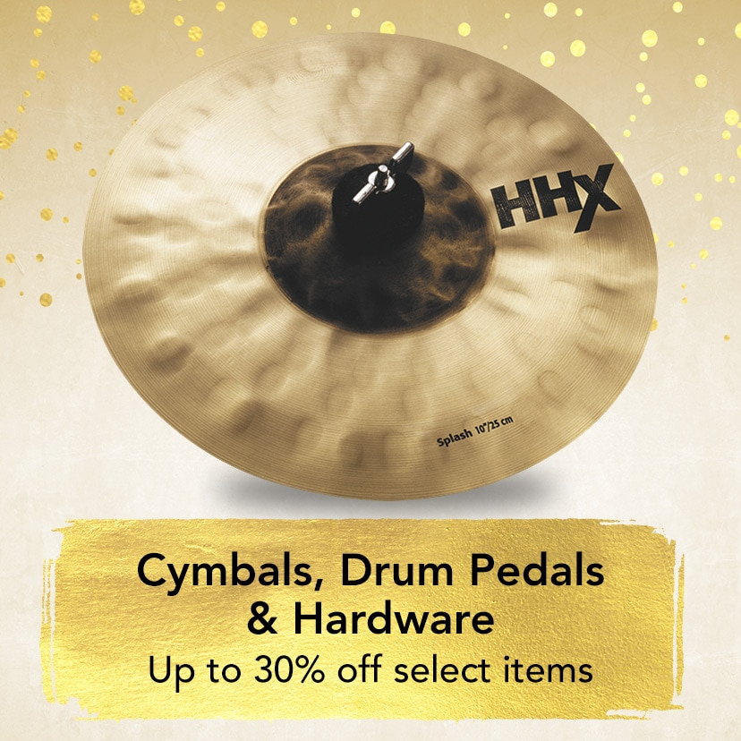 Cymbols, Drum Pedals and Hardware. Up to 30 percent off select models