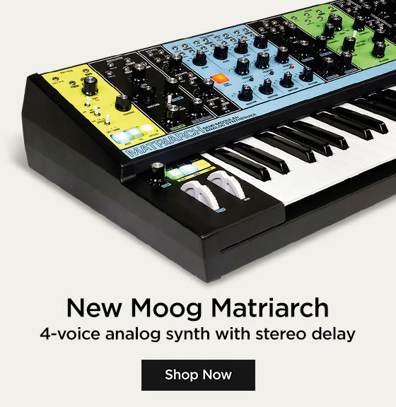 New Moog Matriarch. 4-voice analog synth with stereo delay.