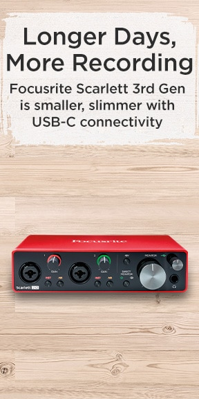 Longer Days, more recording. Focusrite Scarlett 3rd Gen is smaller, slimmer with USB-C connectivity.