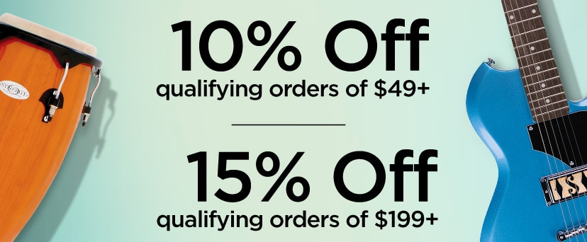 10 percent off qualifying orders of 49 Dollars plus. 15 percent off qualifying orders of 199 Dollars plus