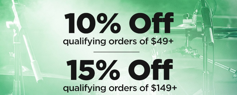 10 percent off qualifying orders of 49 Dollars plus. 15 percent off qualifying orders of 149 Dollars plus