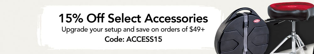 15 percent off select accessories. upgrade your setup and save on orders of 49 dollars. code A C C E S S 1 5