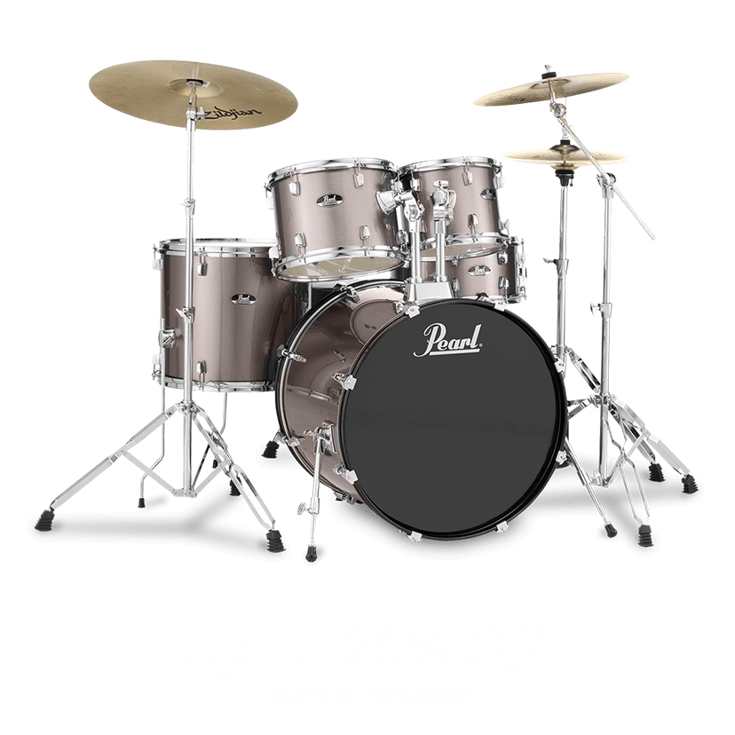 Up to 20 percent off drums and percussion.