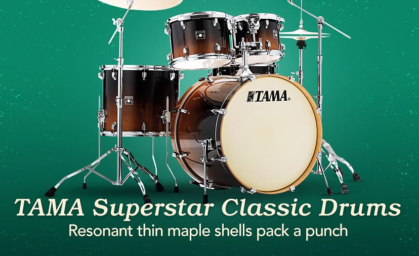 Tama Superstar Classic Shell Packs Rich Tone and full-spectrum punch, thanks to resonant thin maple shells
