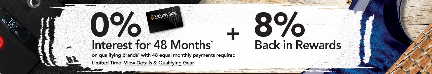 0% interest for 48 month* on qualifying brands* with 48 equal monthly payments required. Plus 8% back in rewards. Limited Time. View Details & Qualifying Gear.