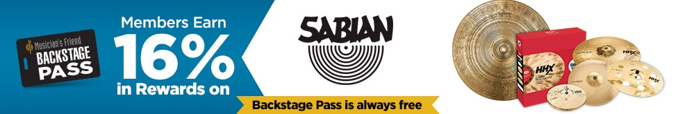 Back Stage Pass Members currently earn sixteen percent in rewards on Sabian products