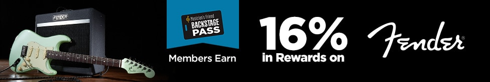 Backstage pass Members earn 16 percent back in rewards on all Fender Products