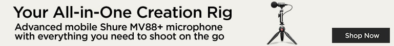 Your All-in-one Creation Rig Advanced mobile Shure MV88+ microphone with everything you need to shoot on the go