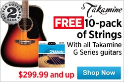 MF MD DR Free 10 pack of DAdarrio Strings 244 MSRP on all Takamine G Series Guitars 09-11-14