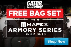 MF MD DR Free Gator Bag Set with any Mapex Armory Drum Set 12-12-14
