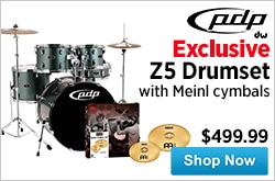 MF MD DR PDP Z5 Drumset with Meinl cymbals 01-16-15