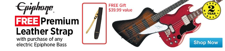 MF MD DT Free Premium Leather strap with the purchase of any electric Epiphone bass 03-31-15