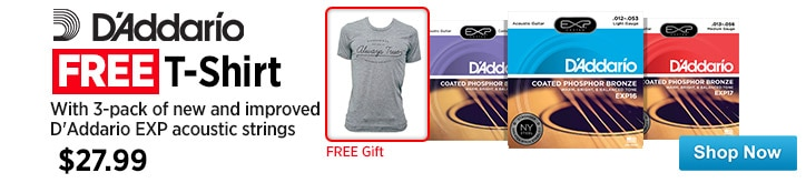 MF MD DT Free Tshirt with New and Improved EXP Acoustics Strings 3 Pack 04-16-15