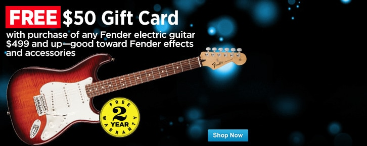 Get a FREE 50 Gift Card toward Fender effects and accessories