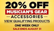 20 off Musician Gear accessories includes Guitar Acc