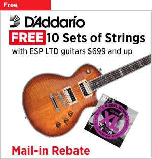 Free 10 sets of DAddario strings with ESP LTD guitars 699 and up