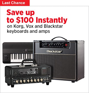 Save up to 100 Instantly on Korg keyboards Vox and Blackstar Amps