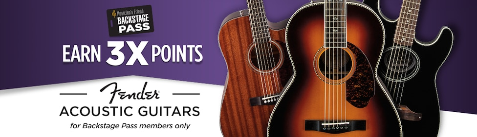 Backstage Pass Members Earn three times points on Fender Acoustic Guitar purchases