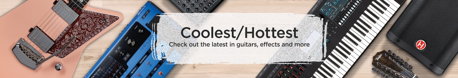 Coolest/Hottest.  Check out the latest in guitars, effects and more