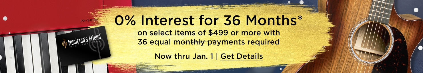 0 percent interest for 36 months on select items of 499 dollars or more with 36 equal monthly payments required. Now thru Jan 1