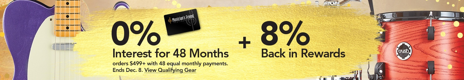 0 percent interest for 48 months on qualifying purchases of 499 dollars or more with 48 equal monthly payments required. Now through Dec 8.